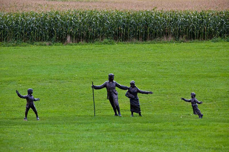 Grand-Pré National Historic Site<br /> Home of Evangeline<br /> Bronze sculptures in center