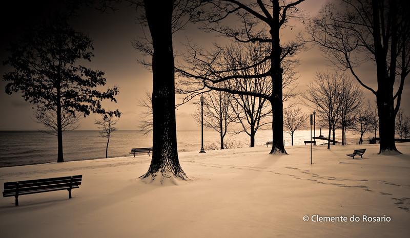 Winter Scene, Lakeside Park in Oakville, Ontario,Canada