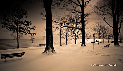 Winter Scene, Lakeside Park in Oakville, Ontario,Canada