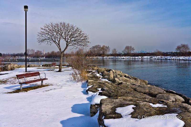 Winter scene at Lakefront Promenade Marina, Mississauga,Ontario,Canada