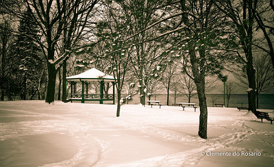 Winter scene after a significant snowfall, Lakeside Park,Oakville,Ontario,Canada
