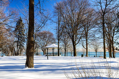 Scenic Lakeside Park in Oakville after the first snowstorm on December 14, 2013