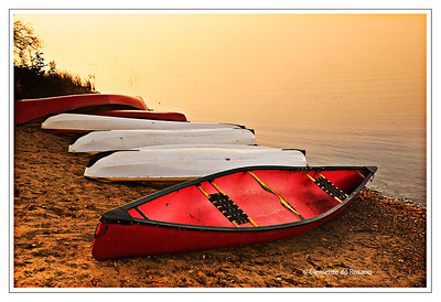 Canoes on the shores of Oxtongue Lake in Dwight, Ontario, Canada
