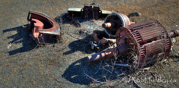 Rusty mine equipment parts.