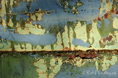 Flaking paint and rust on discarded equipment at the Marmora Iron Mine, Marmora, Ontario.  © Rob Huntley