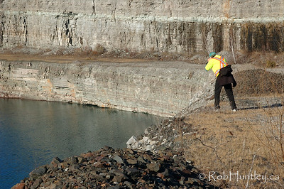 Now filled with water, you can see the walls of limestone which was removed to uncover the minerals below Marmora Iron Mine, Marmora, Ontario.  © Rob Huntley