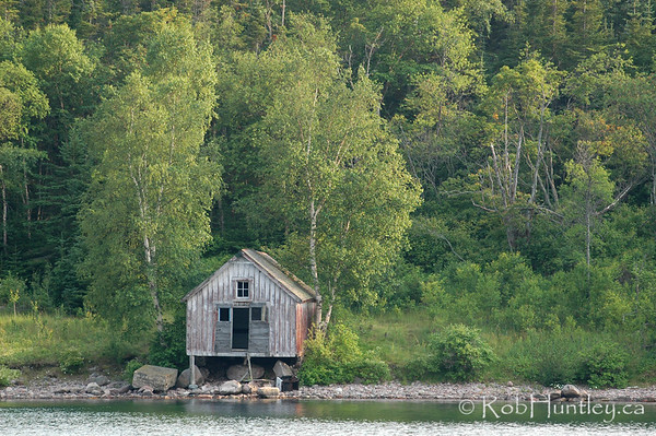 Rustic old boat house on Lake Joseph in the Muskokas.