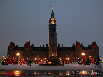 Parliament Hill and the Peace Tower with Christmas lights