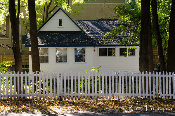 House with a white picket fence. Autumn in my neighbourhood in the Highland Park area of Ottawa near Westboro.