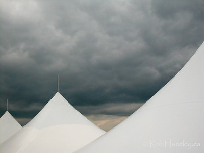 Storm clouds over tents at the National Capital Equestrian Park