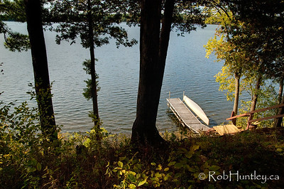 The dock and waterfront from in front of the cottage. © Rob Huntley