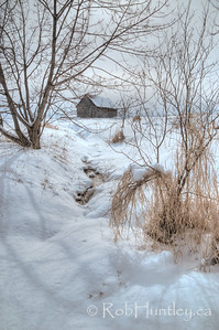Winter stream and barn. Pinhey's Point Heritage Property and Park. © Rob Huntley