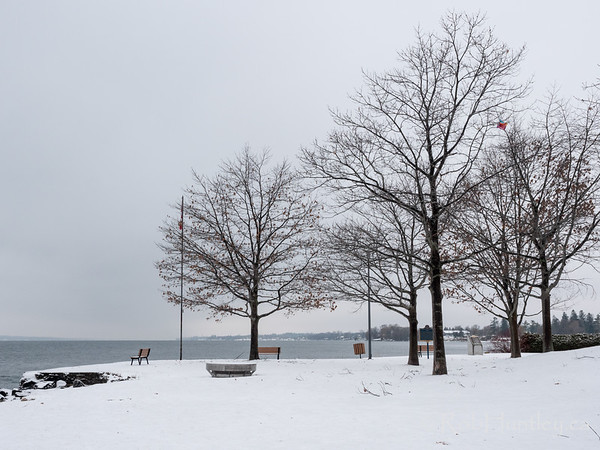 Park in winter in Prescott, Ontario.