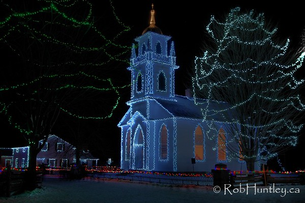 The Church - Alight at Night - Upper Canada Village, Morrisburg, Ontario.