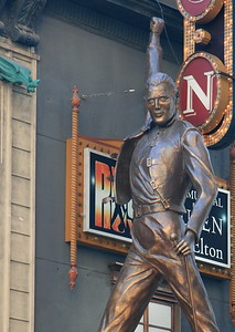 "The Freddy Mercury statue for the musical ""we will rock you"""