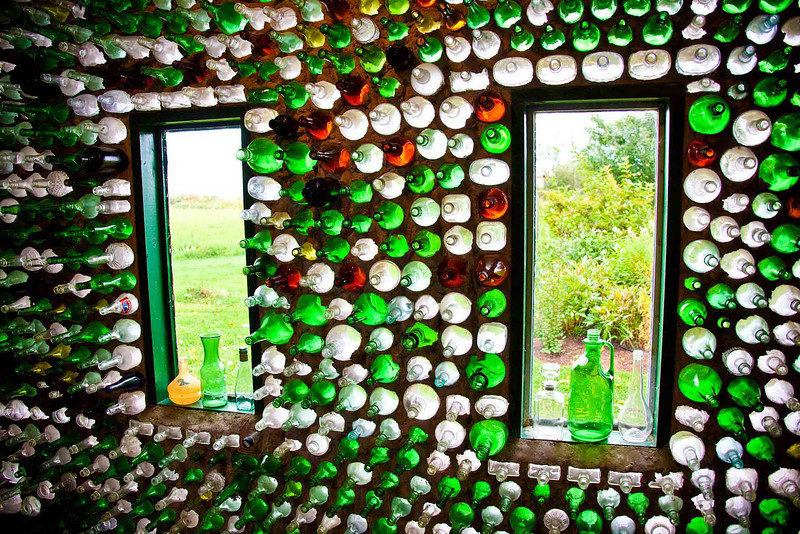 Windows of the Saloon of the Bottle House(s)<br /> Abram-Village