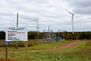 """Wind Farm at North Cape<br /> Each blade is 100' long!<br /> Note: """"Beware of falling ice"""""""