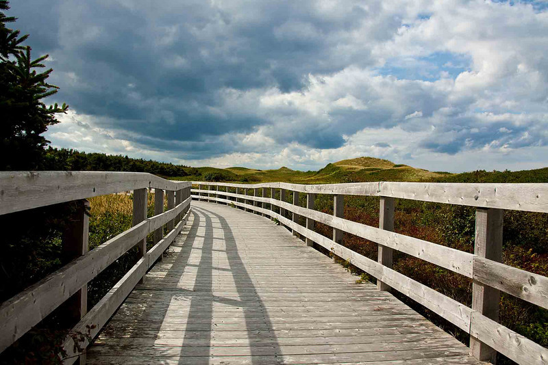 Boardwalk over the dunes at<br /> Souris Beach Provincial Park
