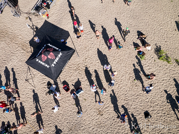 Shadows of swimmers and supporters. Ottawa Riverkeeper 4K Swim. Kite aerial photograph.
