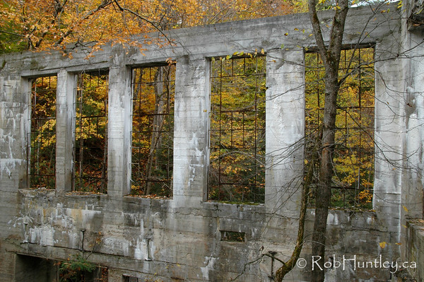 """Willson's Ruins. These are the ruins of Thomas """"Carbide"""" Willson's Fertilizer Plant deep in the heart of a hardwood forest in Gatineau Park. © Rob Huntley"""