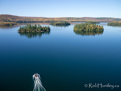 Pontoon boat on Big Cedar Lake  Aerial photography.