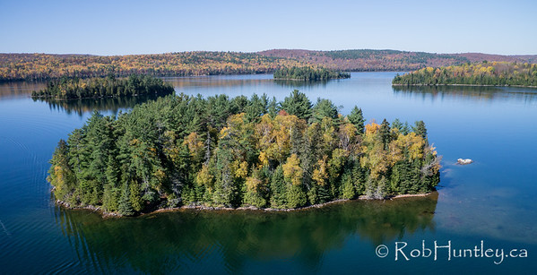 Island on Big Cedar Lake near Messines, Quebec.  Aerial photography.