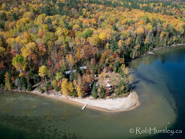 Autumn shoreline on Big Cedar Lake, Quebec.  Aerial photography.