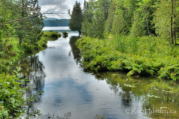 The Join. Stream joining Big Cedar Lake and Little Cedar Lake near Messines, Quebec. Little Cedar Lake is in the distance.  © Rob Huntley