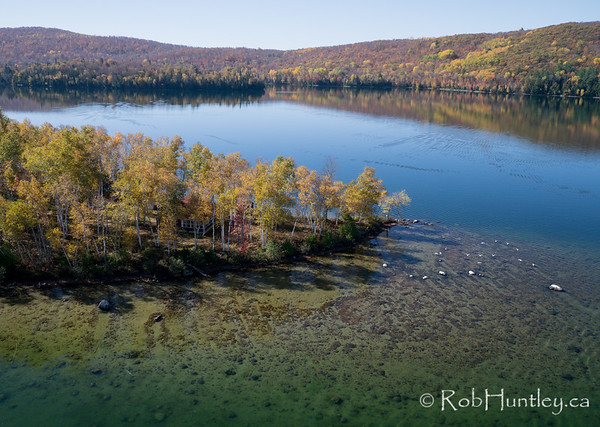 Big Cedar Lake, Quebec.  Aerial photography.