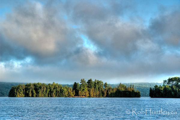 Islands on Big Cedar Lake. Early morning light on islands in Big Cedar Lake near Messines, Quebec.  © Rob Huntley