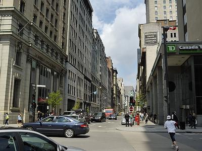 """Montreal ( Qc, Canada ) downtown corner near """"Palais des congres"""" around noon / Coin de rue du centre ville de Montreal ( Qc, Canada ) pres du Palais des congres sur l'heure du midi."""