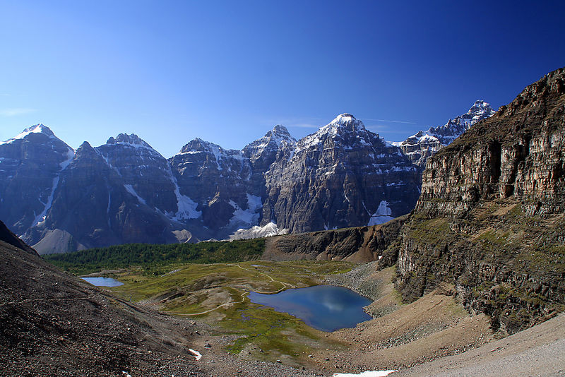 View from Sentinal Pass (2,611m), one of the highest passes in Banff National Park. Wenkchemna peaks in the background.