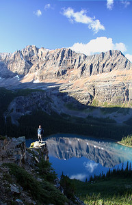 Morning reflection of Mount Shaffer (2,692m) on Lake O'Hara.