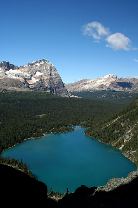 Lake O'Hara from Yukness Ledges route. As a guideline we started at the end of the lake, then climbed the steep switchbacks to the right of the lake.