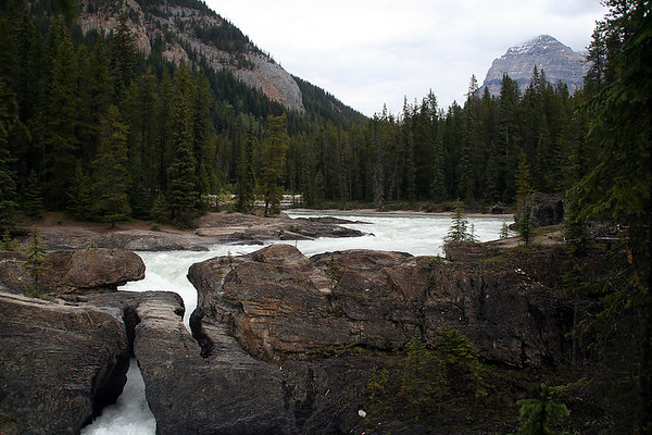 The Kicking Horse River has carved a natural bridge through solid rock.
