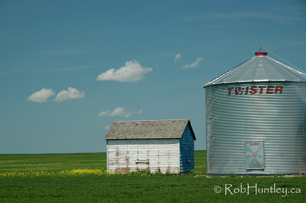 Shed and storage silo in southern Saskatchewan.