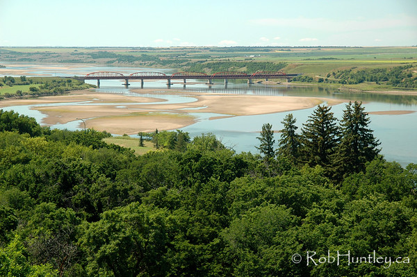 South Saskatchewan River - Outlook, Saskatchewan. Taken from Skytrail, the longest pedestrian bridge in Canada. Skytrail is a key segment of the Trans Canada Trail and is a popular location for birdwatching. © Rob Huntley