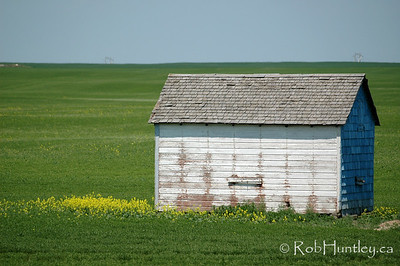 Old shed in prairie country.