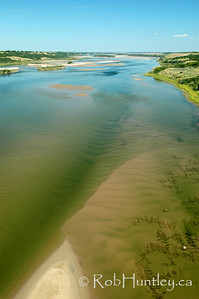 South Saskatchewan River - Outlook, Saskatchewan. This is looking north. Taken from Skytrail, the longest pedestrian bridge in Canada. Skytrail is a key segment of the Trans Canada Trail and is a popular location for birdwatching. © Rob Huntley