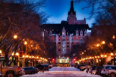 Nighttime Winter Street in Saskatoon