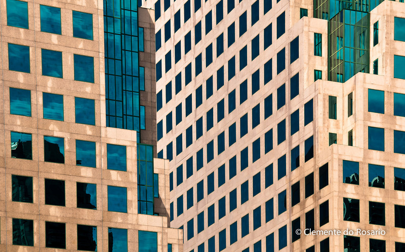 Closeup of window patterns of an office building