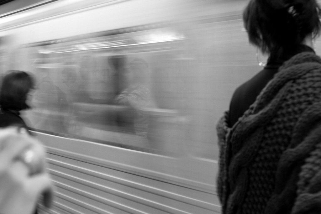 Catching a ride in one of Toronto's Subway cars.