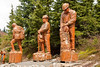 Giant wood sculptures on Grouse Mtn