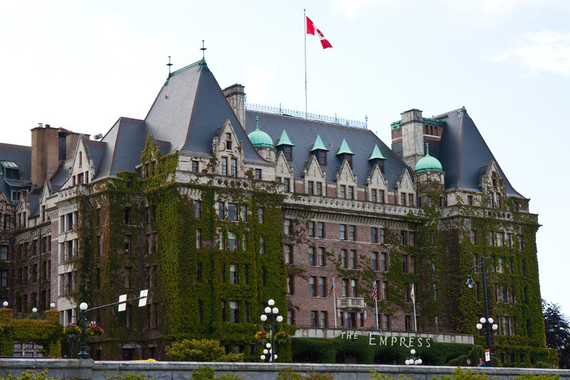 Famous Empress Hotel on Inner Harbour, Victoria