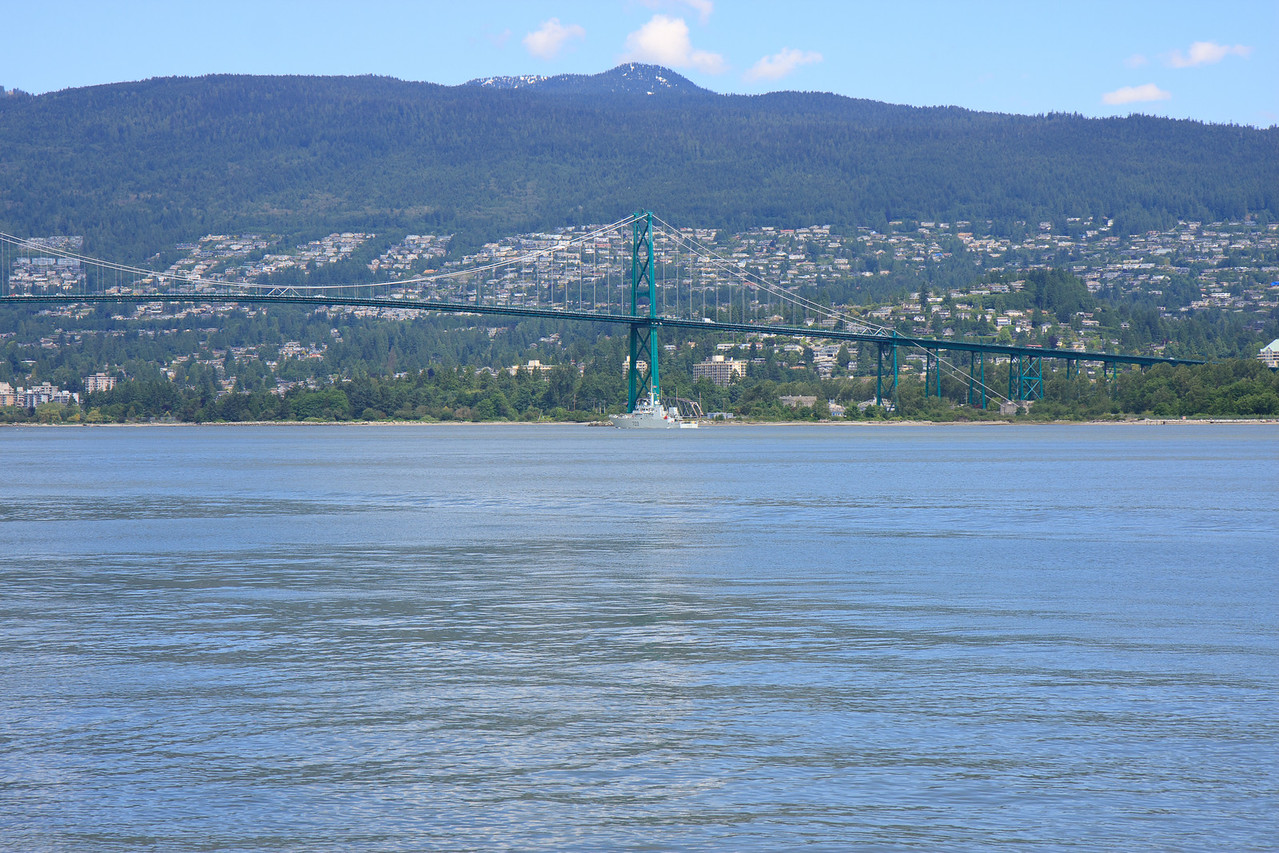 View of Lions Gate Bridge from Sea Wall, Stanley Park, Vancouver
