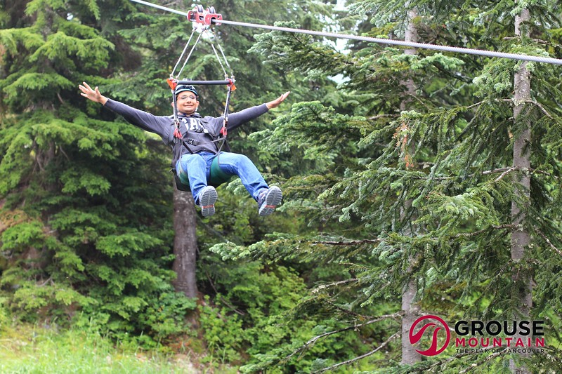 Ziplining at Grouse Mountain, Vancouver