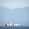 Container ship and mountains