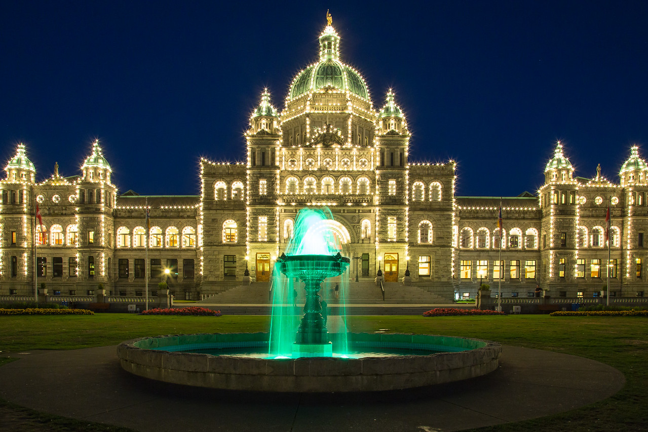 British Columbia Parliament Building at nighttime