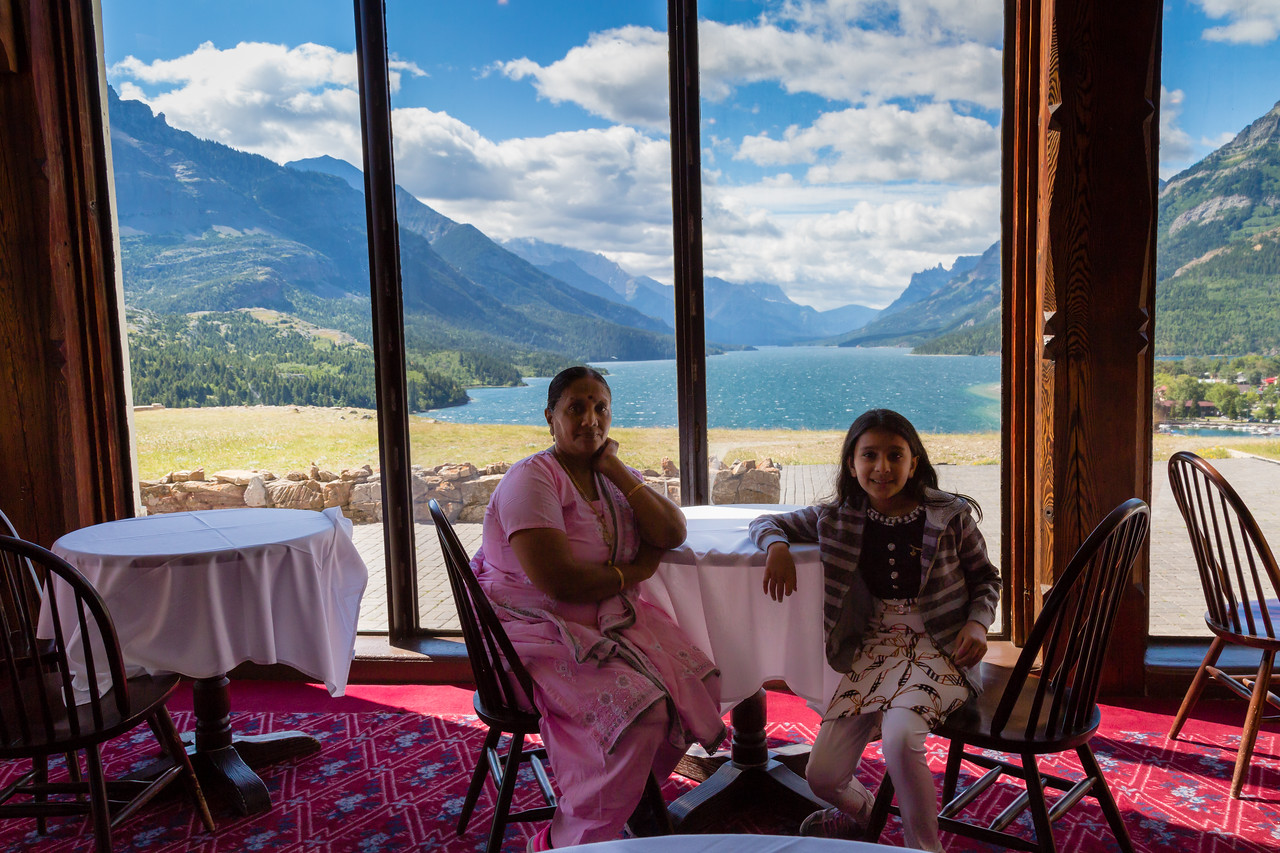 View of Waterton Lake from Prince of Wales Hotel in Waterton Park