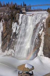 """A few minutes from Quebec City enchanting Park da la Chute-Montmorency is an invitation to relax. The awe-inspiring 272 ft. tall waterfall, which is 98.5 ft higher then Niagara Falls, is bordered by trials and lookouts. The view is stunning from every point whether you taking cable car, climbing 487 panoramic steps which winds it's way up the cliffside or strolling across suspension bridge. I the winter park takes on a whole new look and special charm. You can stroll up to the base of falls to admire the Sugarloaf. Formed by frozen spray, this giant cone measures over 100 feet and it's favorite spot for sledding."" Too bad, that this winter wasn't cold enough and the Sugarloaf is really small. During the really cold winters you can climb frozen walls of the falls!"